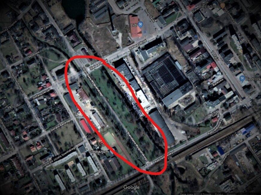 Jeden fragment z 11 ha rewitlizownej zieleni w przzy ul. Wyspiańskiego w Żyrardowie.