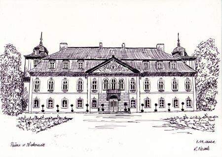 Pałac w Nieborowie – rys. Kinga Nowak (źródło: parkilodzkie.pl)