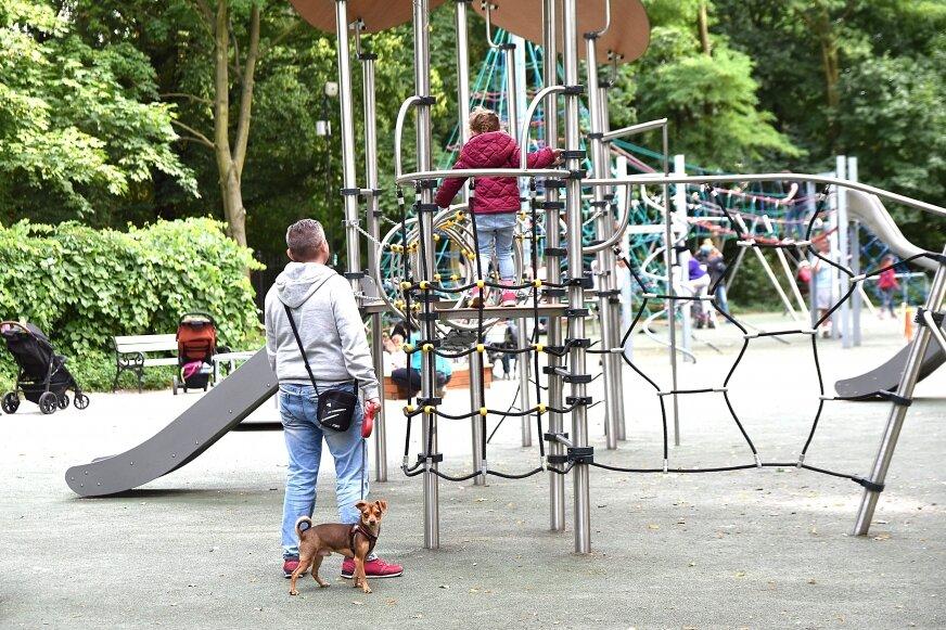 Piątkowe (12.07) popołudnie. Obecność spacerujących po zabytkowym parku oraz po placu zabaw zwierząt nieco dziwi… Interwencji jednak nikt z wypoczywających nie składa.