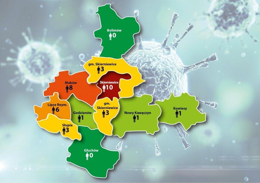 Stan zachorowań (23.04) na koronawirusa w mieście oraz poszczególnych gminach w powiecie skierniewickim.