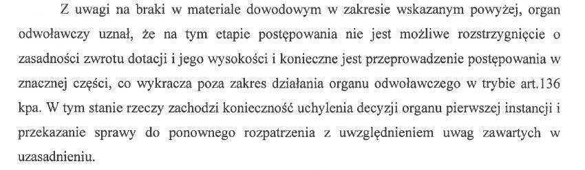 Fragment uzasadnienia decyzji SKO w sprawie zwrotu dotacji za rok 2016.